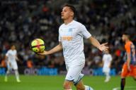 Le Marseillais Florian Thauvin célèbre son but face à Montpellier, le 24 mai au Stade Vélodrome.