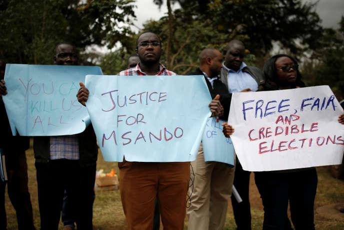 Le 1er août 2017, manifestation après l'assassinat de Chris Msando, le directeur des technologies de l'information et de la communication de la Commission électorale du Kenya.