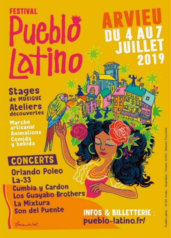 Affiche du festival Pueblo Latino à Arvieu (Aveyron).