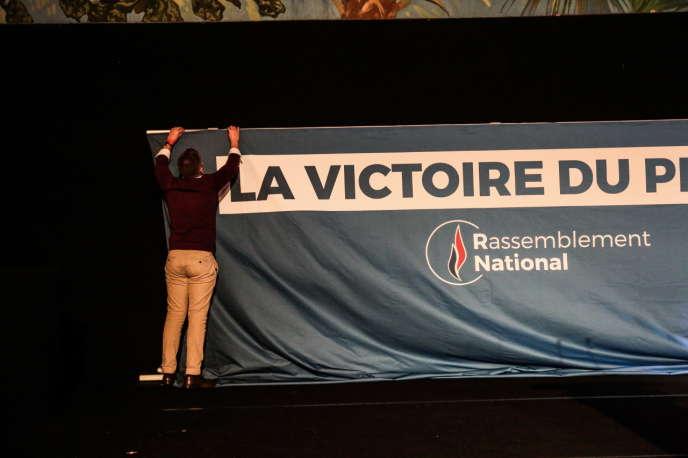 Soirée électorale du Rassemblement national à Paris, le 26 mai.