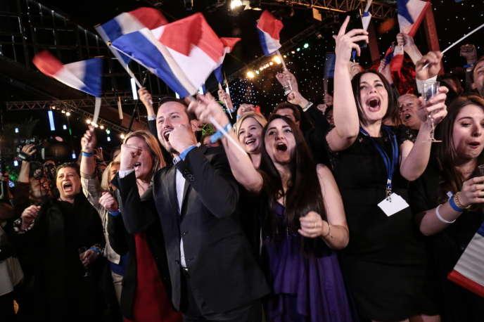 Soiree electorale du Rassemblement national à Paris, le 26mai.