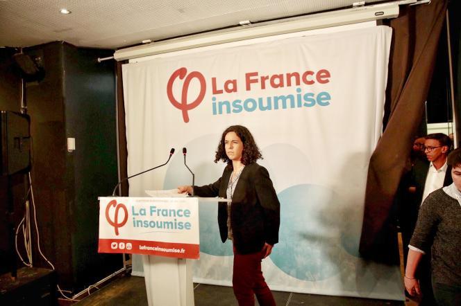 Manon Aubry lors de son discours au siège de la France Insoumise, le 26 mai.