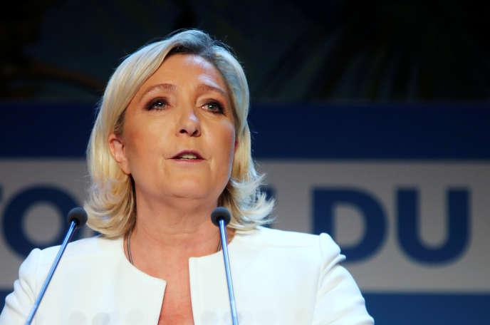 Marine Le Pen lors de son discours après la publication des premiers résultats aux élections européennes, dimanche 26 mai 2019, à Paris.