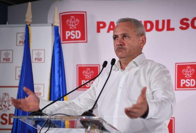 Liviu Dragnea, chef du Parti Parti social-démocrate, à Bucarest, le dimanche 26 mai.