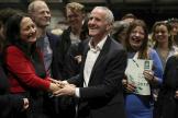 Le candidat Vert, Ciarán Cuffe, en tête dans la circonscription de Dublin, le 26 mai.