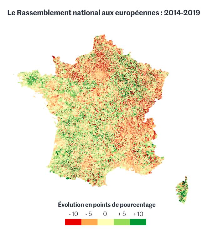 Le Rassemblement national aux élections européennes de 2014 et 2019.