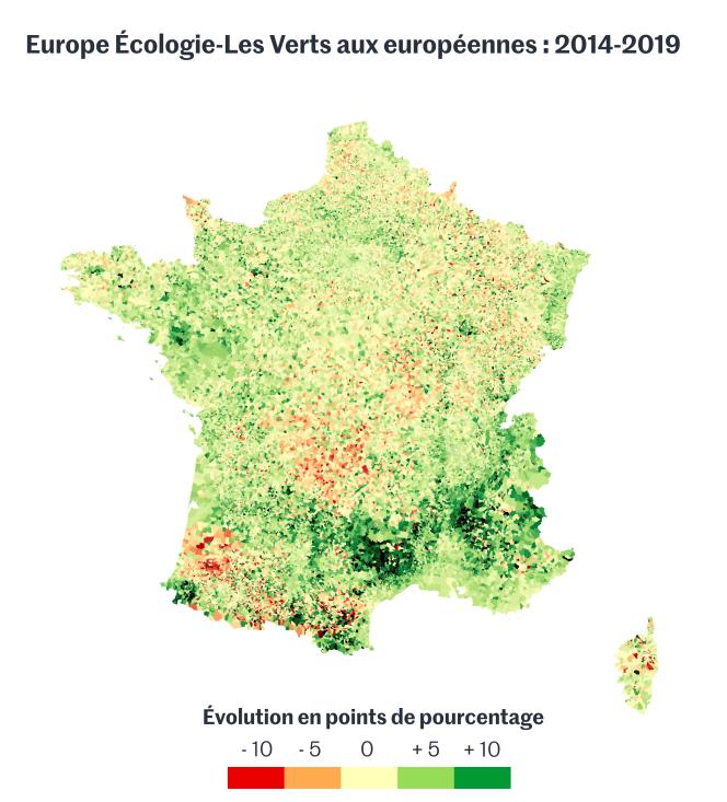 Europe Ecologie-Les Verts aux élections européennes de 2014 et 2019.