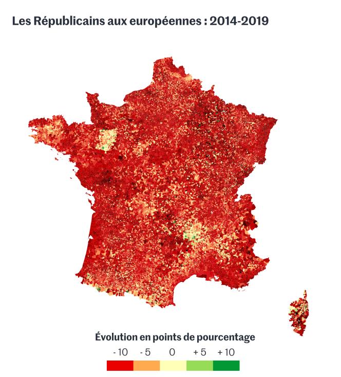 Les Républicains aux élections européennes de 2014 et 2019.
