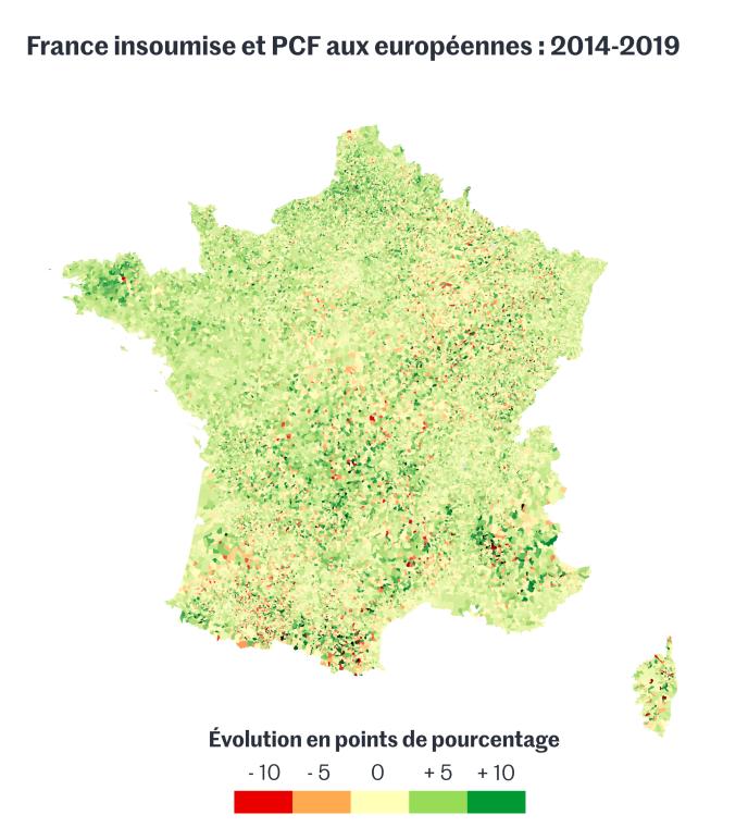 La France insoumise et le Parti communiste français aux élections européennes de 2014 et 2019 (Front de Gauche en 2014).