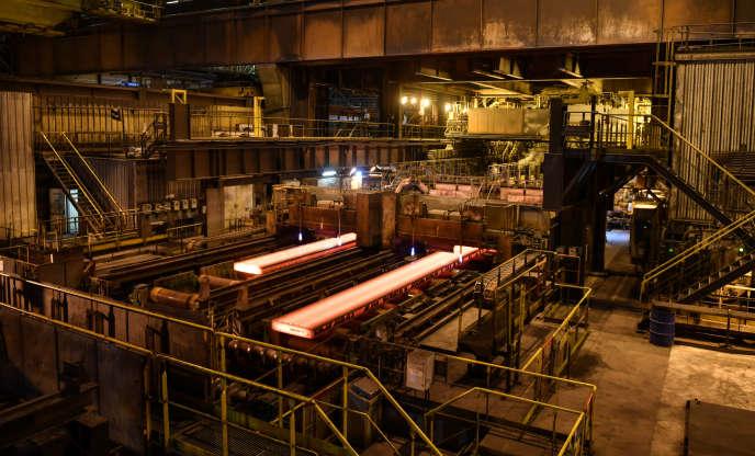 Dans l'aciérie ArcelorMittal de Dunkerque (Nord), en mars 2018.