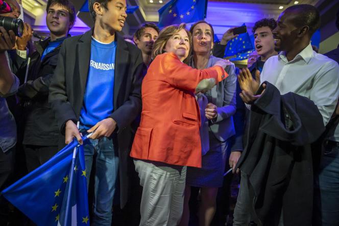 Nathalie Loiseau, tête de liste de la majorité, à la Mutualité, à Paris, le 26 mai.