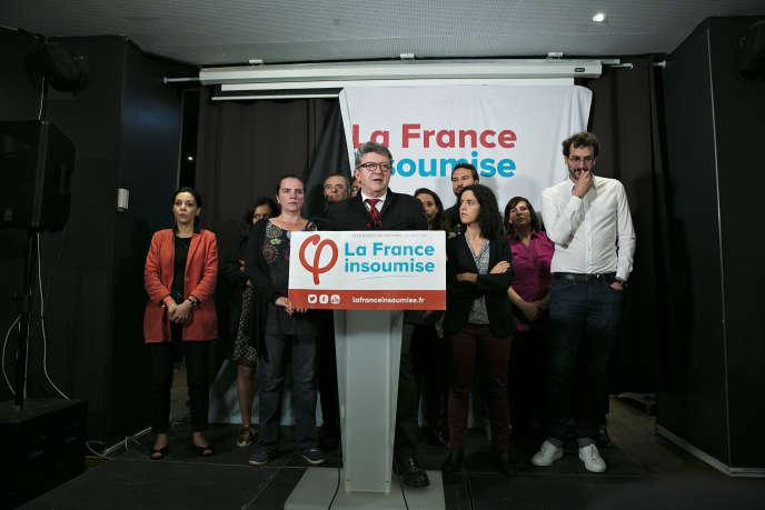 Au Belushi's,QG de La France insoumise le soir des élections européennes, à Paris (10e), dimanche 26 mai.