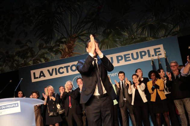La tête de liste RN, Jordan Bardella, célèbre« une victoire du peuple».