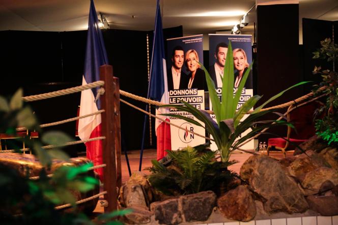 Lors de la soirée électorale du Rassemblement national, à Paris, le 26 mai.
