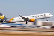Un airbus A321 de la compagnie aérienne Thomas Cook Airlines, en juillet 2018, à l'aéroport de Palma de Majorque, en Espagne.