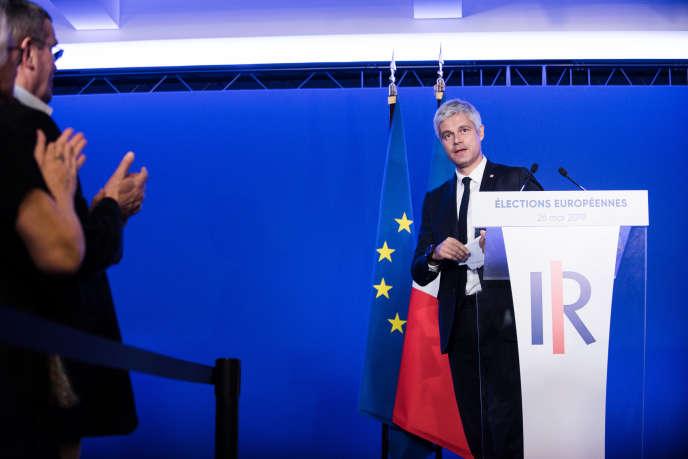Laurent Wauquiez prend la parole après les résultats européens, lors de la soirée electorale au siège des Republicains. Paris, France le 26 mai.