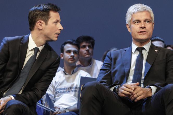 Francois-Xavier Bellamy et Laurent Wauquiez en meeting pour les élections européennes, à Paris, le 15 mai 2019.