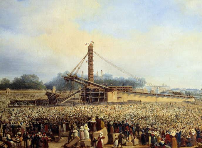 «Erection de l'obélisque de Louxor place de la concorde» (à Paris, le 25 octobre 1836), de Francois Dubois.