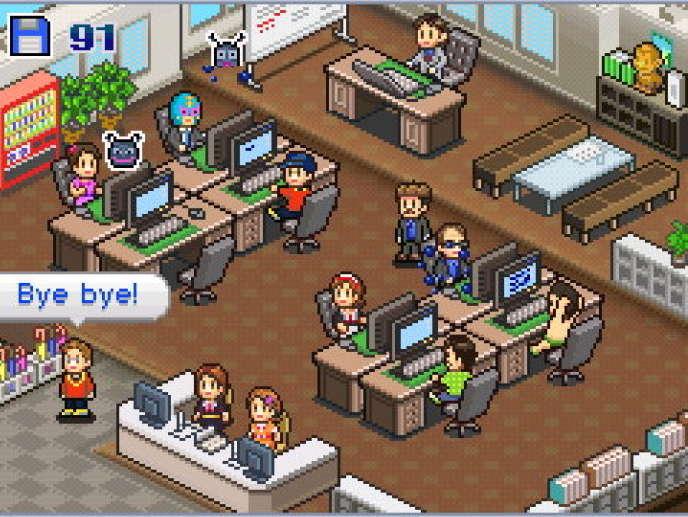 « Game Dev Story», un jeu vidéo centré sur le quotidien et la productivité d'un studio de jeu vidéo.