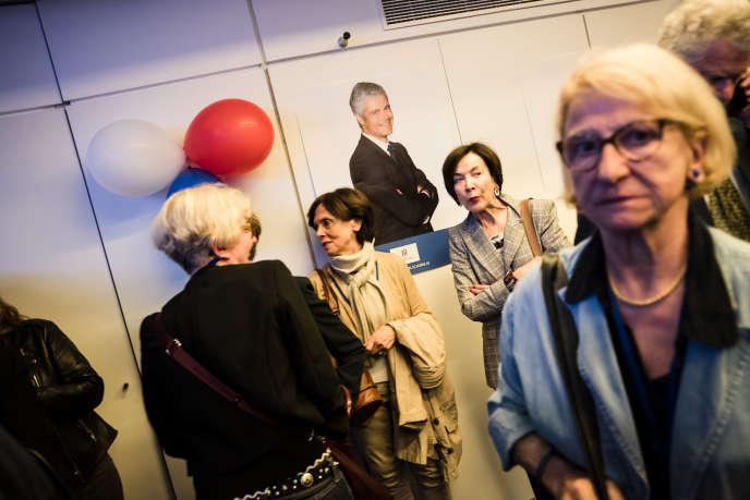 Attente des résultats des élections européennes au siège des Républicains, à Paris, le 26 mai.