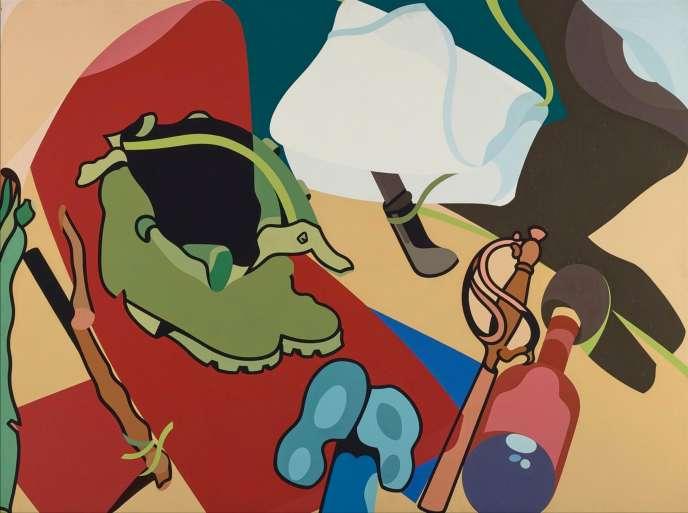 «Entre les étendards» par Hervé Télémaque, 1977, acrylique sur toile 97 x 131 cm. Estimation : 25 000-35 000 euros.