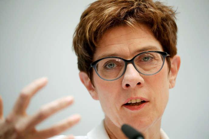 Annegret Kramp-Karrenbauer, présidente de la CDU, lors d'une conférence de presse à Berlin, le 27 mai 2019.