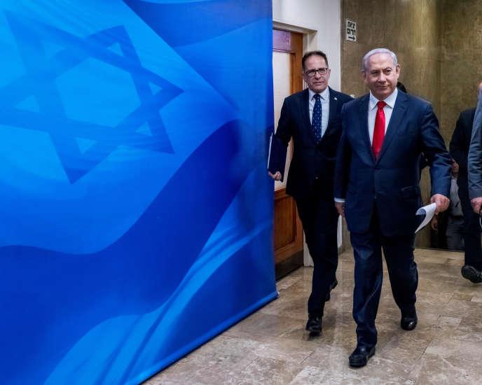 Le premier ministre israélien,Benyamin Nétanyahou, se rend à une réunion de cabinet hebdomadaire à Jérusalem, le 26 mai.