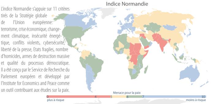 Cette carte montre en rouge les onze pays où la paix est la plus précaire: l'Inde, le Yémen, le Tchad, l'Irak, le Soudan, la République centrafricaine, la République démocratique du Congo, le Sud-Soudan, l'Afghanistan, la Somalie, le Pakistan et la Syrie.