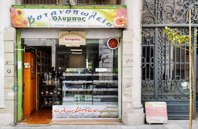L'herboristerie Votana Olympos, dans la rue Agiou Mina.