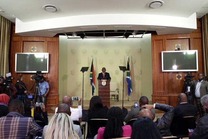 Le président sud-africain, Cyril Ramaphosa, annonce la composition du gouvernement, à Pretoria, le 29mai 2019.