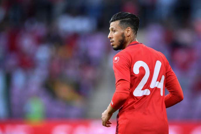 Anice Badri lors d'un match entre la Tunisie et la Turquie, à Genève, le 1erjuin 2018.