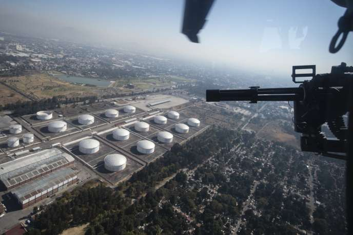 Vue aérienne du complexe pétrolier de Pemex, à Azcapotzalco, dans la banlieue de Mexico, le 4 février.