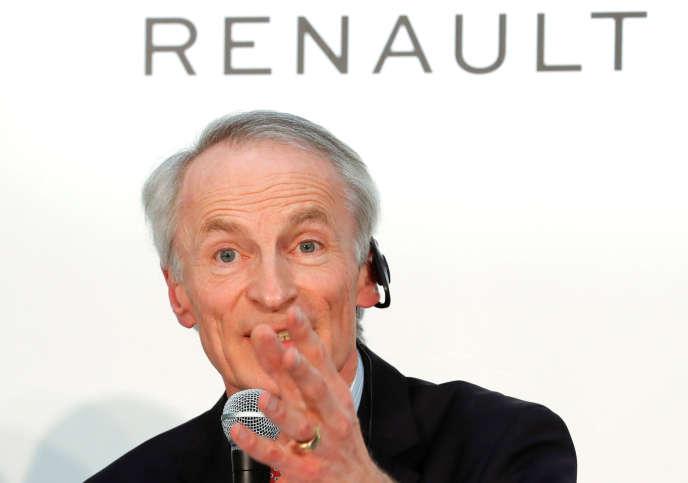 Le président de Renault, Jean-Dominique Senard, lors d'une conférence de presse avec les partenaires nippons de l'Alliance, à Yokohama (Japon), le 12 mars.