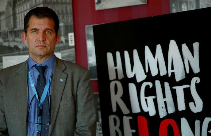 Nils Melzer, le rapporteur spécial des Nations unies sur la torture, après sa rencontre avec Julian Assange, fondateur deWikileaks, à la prison de haute sécurité de Belmarsh, à Genève (Suisse), le 31 mai 2019.