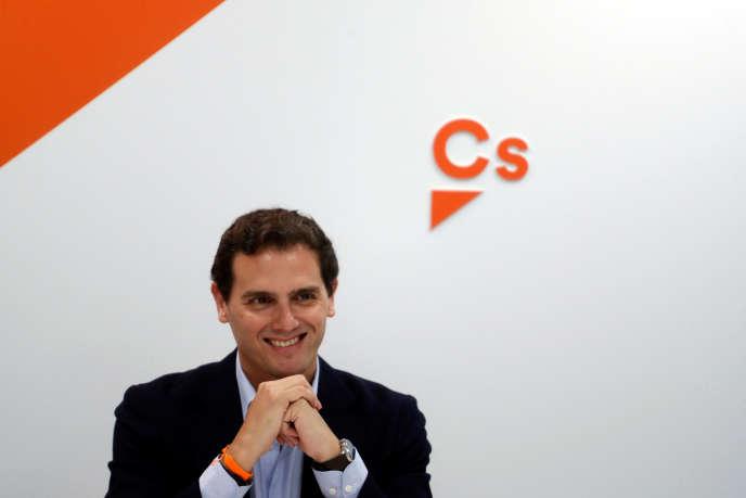 Le chef de file de Ciudadanos, Albert Rivera, le 29 avril, au lendemain des élections générales, à Madrid le 29 avril.