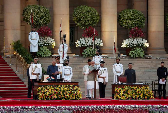 Le président indien, Ram Nath Kovind, lors de la cérémonie d'investiture du premier ministre à New Delhi, le 30 mai. ADNAN ABIDI/REUTERS