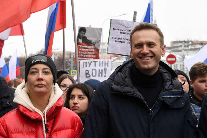 Alexeï Navalny et son équipe sont habitués aux incarcérations de quelques jours ou semaines. Le ministère de la justice continue par ailleurs de rejeter systématiquement l'enregistrement de son parti. Ici, à Moscou, le 24 février.