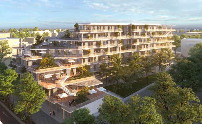 Image de synthèse de l'immeuble de bureaux WoodWork, à Saint-Denis, conçu par les architectes Laisné et Roussel pour Woodeum.