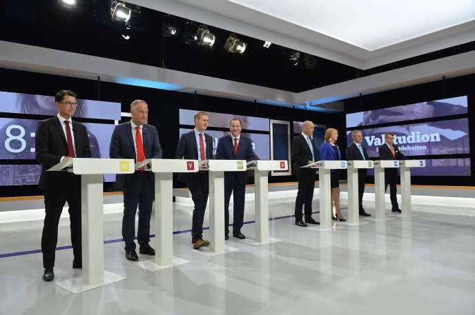 Les leaders des partis politiques suédois, lors d'un débat télévisé électoral en 2014: tout à gauche, Jimmie Akesson, le leader des Démocrates de Suèdes.