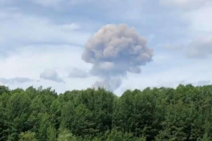 Un nuage de fumée juste après l'explosion, le 1er juin 2019.