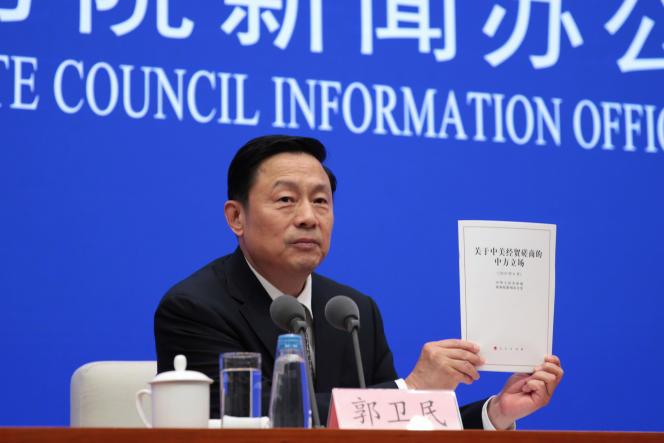 Le vice-ministre de l'information, Guo Weimin, le 2 juin à Pékin.