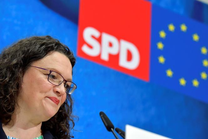 Andrea Nahles, le 27 mai, au lendemain du résultat des élections européennes.