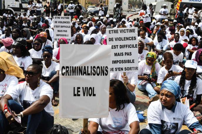 Manifestation à Dakar, le 25 mai 2019, suite au meurtre de Bineta Camara à Tambacounda, dans le centre du pays, le 18 mai.