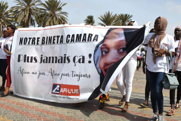 Rassemblement à Dakar, le 25 mai 2019, suite au meurtre de Bineta Camara àTambacounda, dans le centre du pays, le 18 mai.