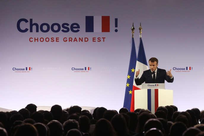 Emmanuel Macron lors de « Choose Grand Est », sommet national sur l'attractivité, à Pont-à-Mousson (Meurthe-et-Moselle), le 5 novembre 2018.