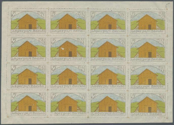 Feuille de timbres de la poste du camp de Bando, au Japon: 11000 euros.