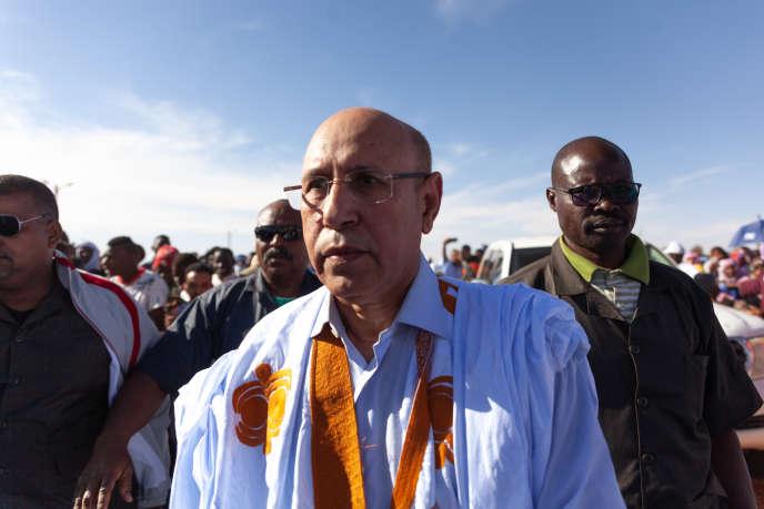 Mohamed Ould Cheikh Mohamed Ahmed, candidat de l'Union pour la République (UPR), le parti au pouvoir, àChinguetti, le 11 avril 2019.