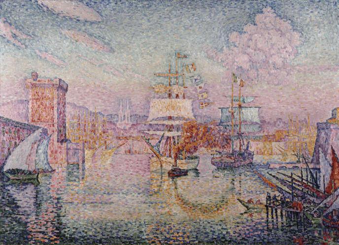 «L'Entrée du port de Marseille (1918)», de Signac Paul, huile sur toile. Au musée Cantini, à Marseille.