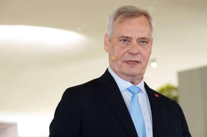 Le premier ministre finlandais, Antti Rinne, 56ans, dont la formation est arrivée en tête des élections législatives le 14avril.