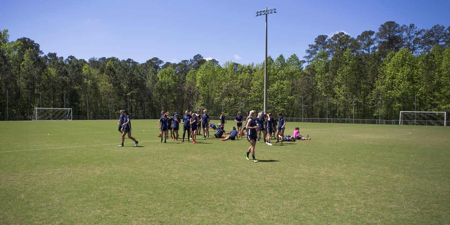 The North Carolina Courage women's professional soccer team practices in Cary, North Carolina on Monday, April 22, 2019. The team won the 2018 NWSL Championship and were nearly undefeated during the 2018 season.
